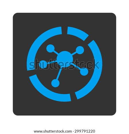 Connections diagram icon. Vector style is blue and gray colors, flat rounded square button on a white background. - stock vector