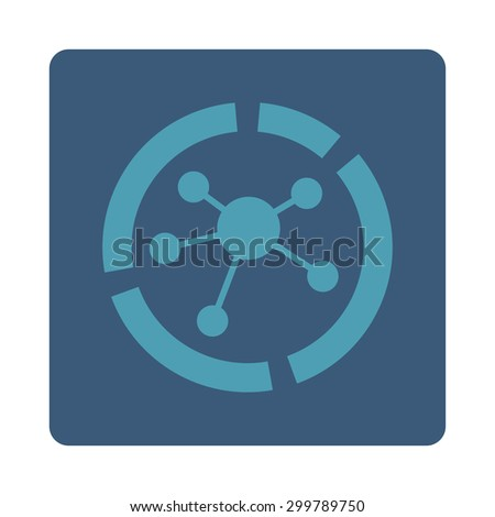 Connections diagram icon. Vector style is cyan and blue colors, flat rounded square button on a white background. - stock vector