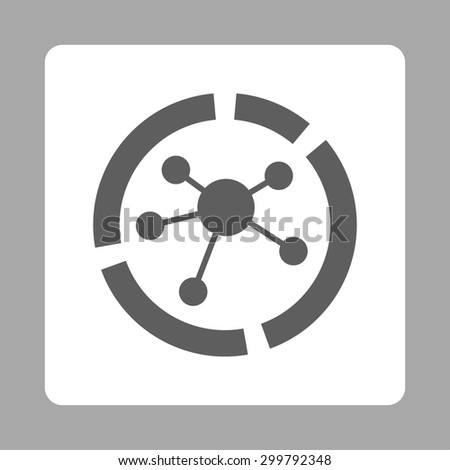 Connections diagram icon. Vector style is dark gray and white colors, flat rounded square button on a silver background. - stock vector
