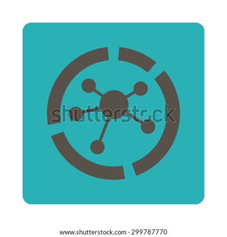 Connections diagram icon. Vector style is grey and cyan colors, flat rounded square button on a white background. - stock vector