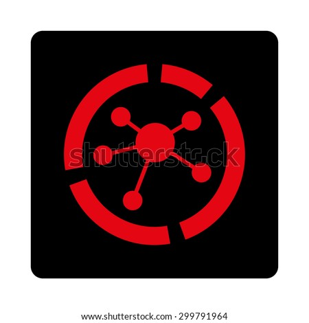 Connections diagram icon. Vector style is intensive red and black colors, flat rounded square button on a white background. - stock vector