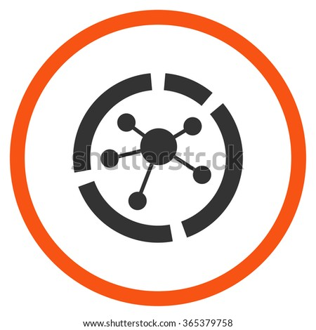 Connections Diagram vector icon. Style is bicolor flat circled symbol, orange and gray colors, rounded angles, white background. - stock vector