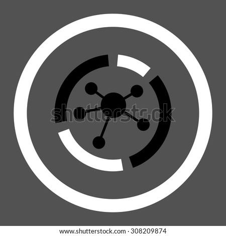 Connections diagram vector icon. This rounded flat symbol is drawn with black and white colors on a gray background. - stock vector