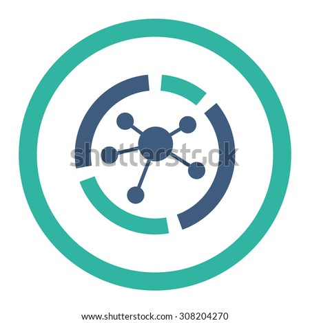 Connections diagram vector icon. This rounded flat symbol is drawn with cobalt and cyan colors on a white background. - stock vector