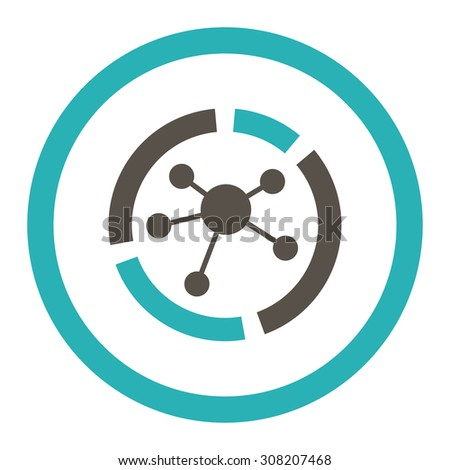 Connections diagram vector icon. This rounded flat symbol is drawn with grey and cyan colors on a white background. - stock vector