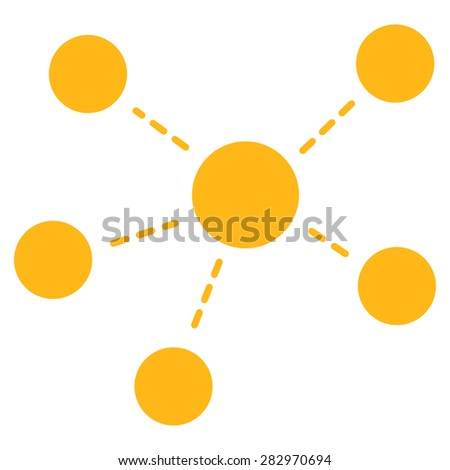 Connections icon. Style: flat symbol, yellow color, rounded angles, white background. - stock vector