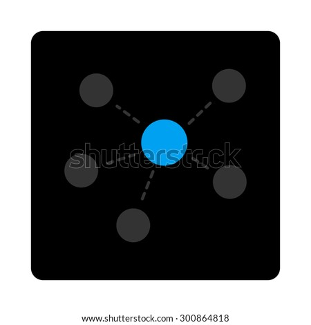Connections icon. Vector style is gray and light blue colors, flat rounded square black button on a white background. - stock vector