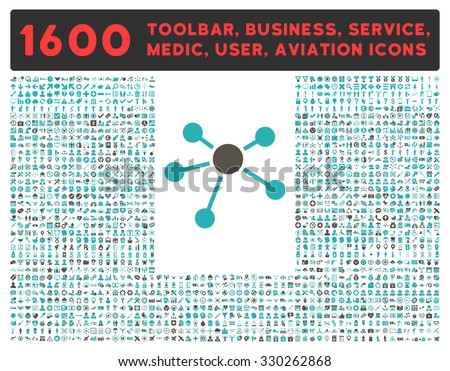 Connections vector icon and 1600 other business, service tools, medical care, software toolbar, web interface pictograms. Style is bicolor flat symbols, grey and cyan colors, rounded angles, white - stock vector