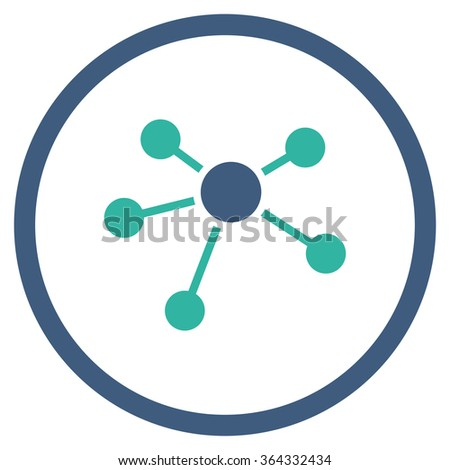 Connections vector icon. Style is bicolor flat circled symbol, cobalt and cyan colors, rounded angles, white background. - stock vector