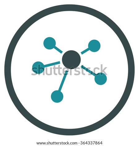 Connections vector icon. Style is bicolor flat circled symbol, soft blue colors, rounded angles, white background. - stock vector