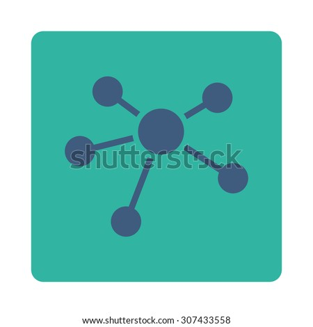 Connections vector icon. This flat rounded square button uses cobalt and cyan colors and isolated on a white background. - stock vector