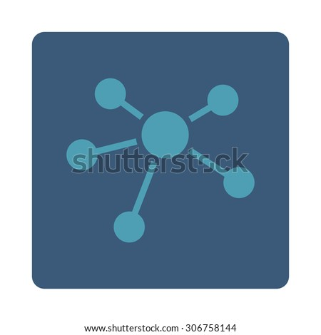 Connections vector icon. This flat rounded square button uses cyan and blue colors and isolated on a white background. - stock vector
