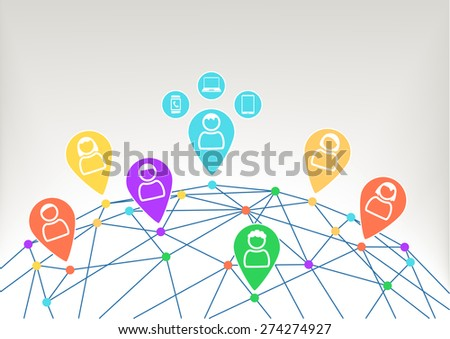 Connectivity and communication within social network with connected devices like notebook, smart phone and smart watch. Background with globe and connections between different dots.