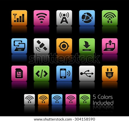 Connectivity Icons // ColorBox Series ---- The Vector file includes 5 color versions for each icon in different layers -- - stock vector