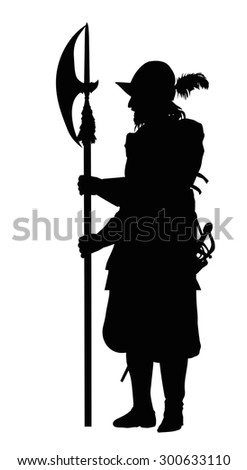 Conquistador with halberd. Detailed vector silhouette. EPS 8 - stock vector