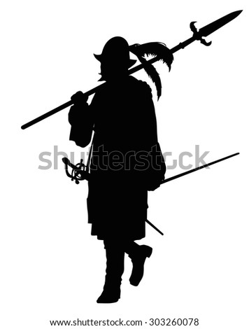 Conquistador with spear marching. Detailed vector silhouette. EPS 8 - stock vector