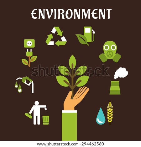 Conservation and environment flat concept with a human hand holding green tree surrounded by bio fuel, recycling, green energy, pollution, industry, emissions icons - stock vector