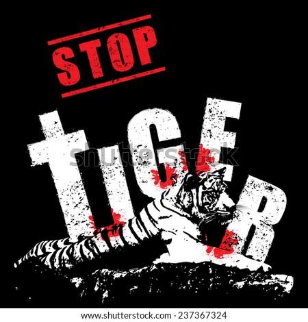 Conserve the tiger concept vector - stock vector