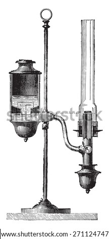 Constant lamp, vintage engraved illustration. Industrial encyclopedia E.-O. Lami - 1875.