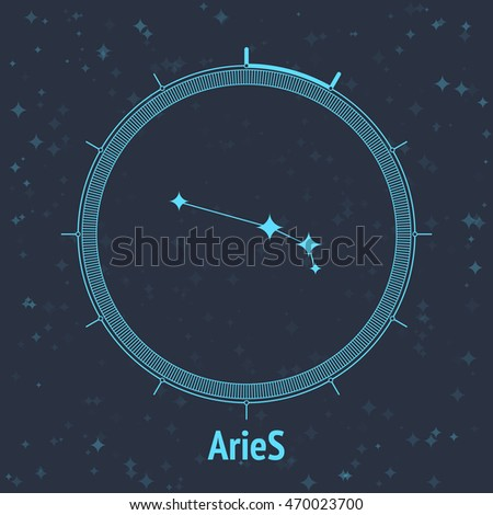 Constellation Aries on dark background with text. Horoscope circle. Zodiac sign. Vector illustration