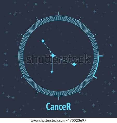 Constellation Cancer on dark background with text. Horoscope circle. Zodiac sign. Vector illustration