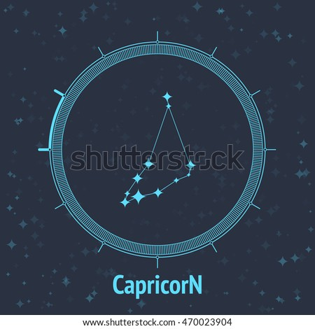 Constellation Capricorn on dark background with text. Horoscope circle. Zodiac sign. Vector illustration