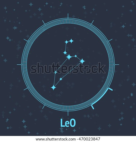 Constellation Leo on dark background with text. Horoscope circle. Zodiac sign. Vector illustration
