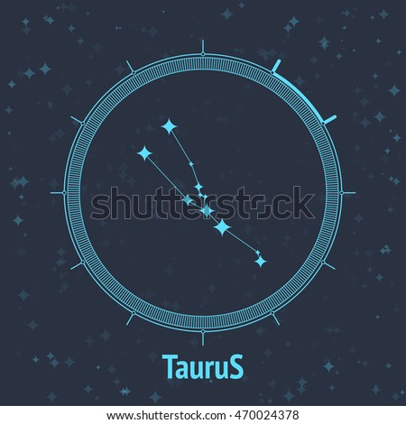 Constellation Taurus on dark background with text. Horoscope circle. Zodiac sign. Vector illustration