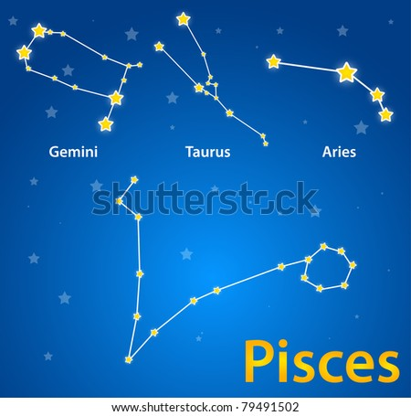Constellations of signs of zodiac. Pisces, gemini, taurus, aries - stock vector
