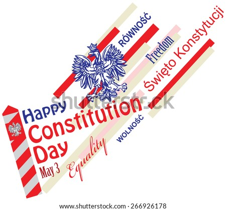 Constitution Day in Poland - May 3, with symbols of statehood - Border post, coat of arms and the text in Polish and English. Vector illustration. - stock vector