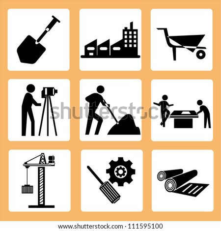 Construct Engineering Icon Set Civil Engineer Stock Vector 111595100