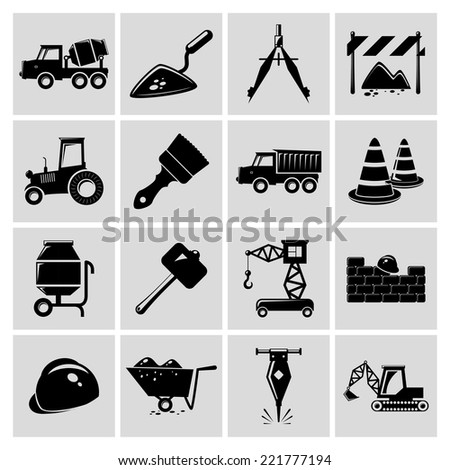 Construction and building engineer equipment black icons set isolated vector illustration
