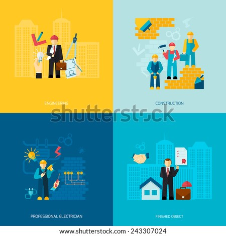 Construction and building professions flat set with engineering professional electrician works finished object isolated vector illustration - stock vector