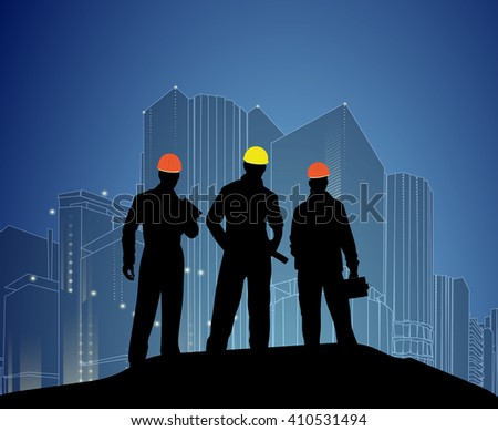 Construction and building professions set with engineering professional electrician works finished object at night isolated vector illustration. - stock vector