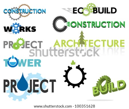 Construction  and building themed text based graphics including ECO theme - stock vector