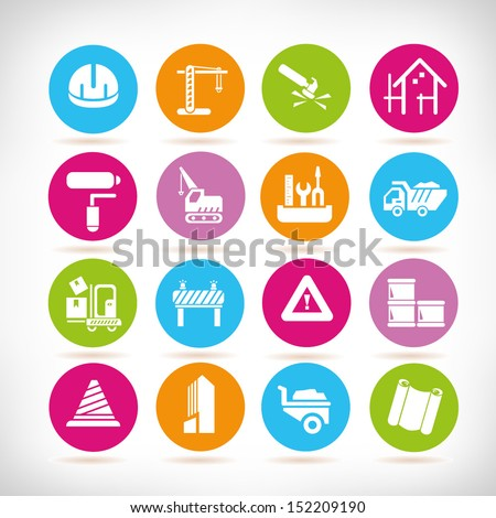 construction and civil engineering icons, round button set - stock vector