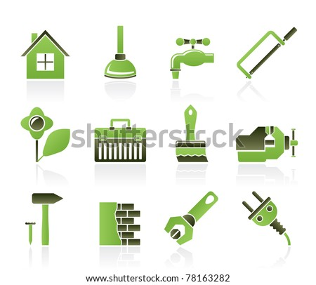 Construction and do it yourself icons vector icon set stock vector