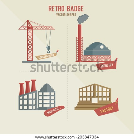 Construction and factory symbol retro design,vector - stock vector