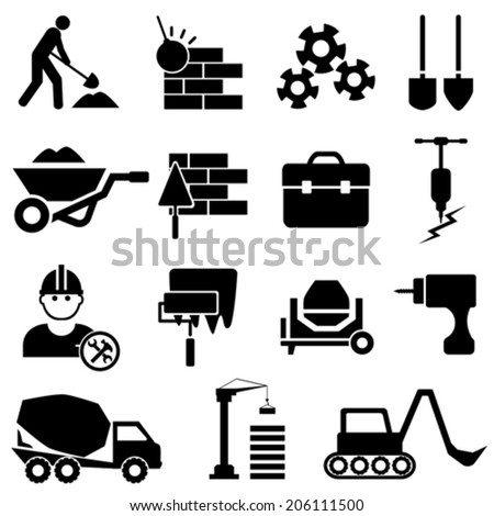 Construction and heavy machinery icon set - stock vector