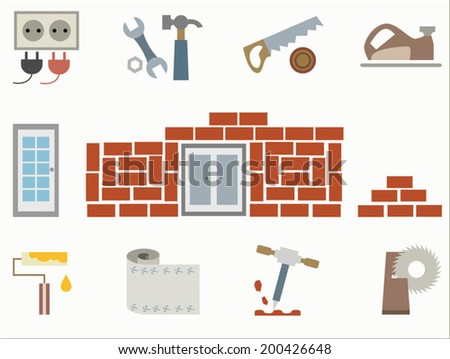 Construction and home repair icon set, isolated on white