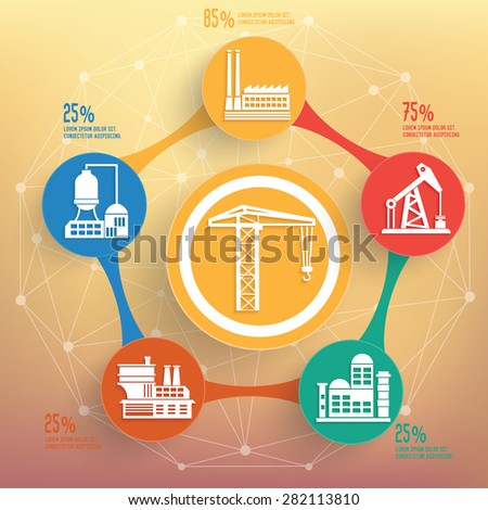 Construction and industry design on blur background,info graphic design,clean vector - stock vector