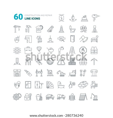 Construction and repair icons. Fully tunable thin outline icons. Vector set - stock vector