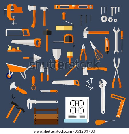 Construction and repair tools flat icons with hammer, axe, saw, wrench, screwdriver, scissors, trowel, spatula, paintbrush, roller, knife, fastener, pliers, toolbox, blueprint, wheelbarrow and ruler