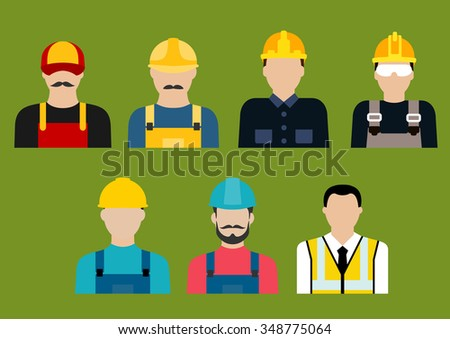 Construction and service industry professions flat icons or avatars with builders, engineer, architect, electrician, plumber, carpenter and mason in uniform - stock vector