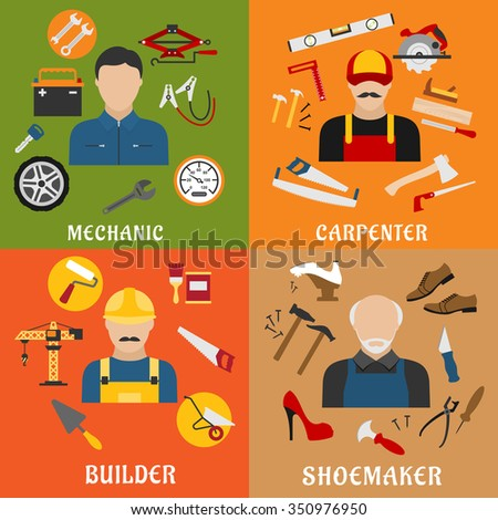 Construction and service industry professions flat icons with professional builder, carpenter, auto mechanic and shoemaker with tools, equipments and machinery  - stock vector