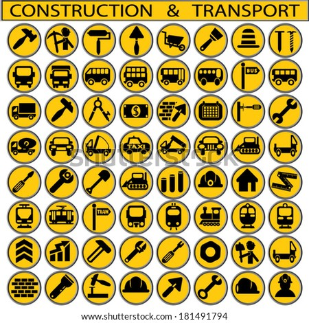 construction and transport - stock vector