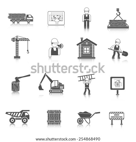 Construction and wood works icons black set with wooden house fence truck isolated vector illustration - stock vector