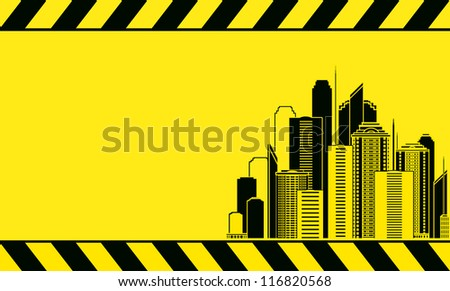 construction background with industrial city landscape with skyscrapers