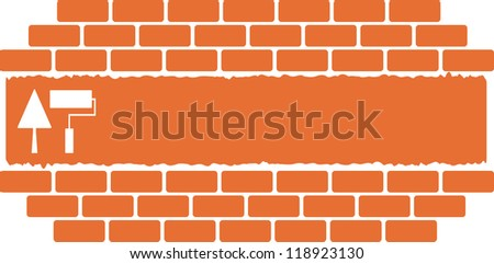 construction background with tools trowel and roller place for text - stock vector