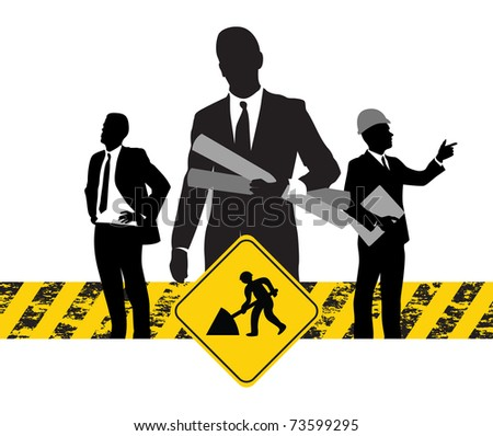construction banner - stock vector